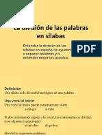division de palabras en silabas