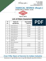 list of machines