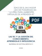 MATERIAL DE LECTURA LAS TIC Y LA GESTIÓN DEL CONOCIMIENTO, APRENDIZAJE E INTELIGENCIA