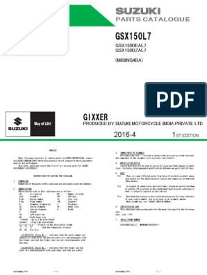 Gixxer 150 catalogo de partes pdf | Transmission (Mechanics