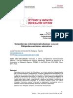 Jesús Tramullas (2016) Competencias Informacionales Básicas y Uso De Wikipedia en Entornos Educativos