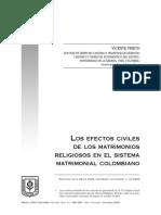 Los Efectos Civiles de Los Matrimonios Religiosos (Colombia)