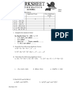 Worksheet Algebra