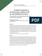 Una mirada humanista a la educacion estetica de la sensibilidad humana