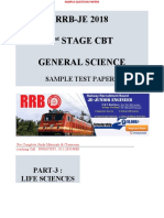 RRB JE 2018 Sample Paper General Science Life Sciences 1