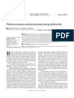 Fasion Awerness and peer pressure among adolescent