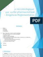 Controle Microbiologique Par Forme Pharmaceutique Exigences Reglementaires Version Finale