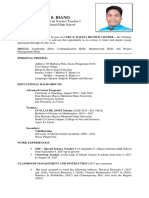 Curriculum Vitae of MARK JAYBEE S. BIANO (SHS Special Science Teacher I)