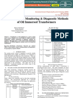 Monitoring and diagnostic methods of oil filled transformers