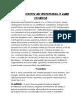 Aplicatii Ale Matematicii in Viata Cotidiana