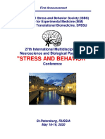 """Conference Announcement - 27th International """"STRESS AND BEHAVIOR"""" Neuroscience and Biopsychiatry Conference, St-Petersburg, Russia (May 16-19, 2020)"""