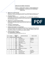 Especificaciones Técnicas Filtro y Aceites