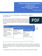 """Resumen de Lectura """"Research on the learning and teaching of algebra"""""""