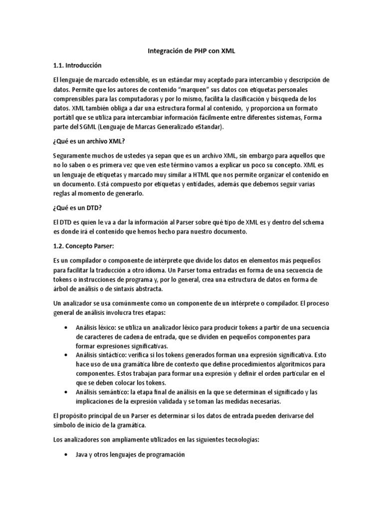 Integración De Php Con Xml Docx Xml Lenguaje De Marcado