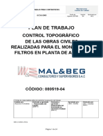113.-Plan de Trabajo Control Topografico de Las Obras Civiles Realizadas Para El Montaje de Filtros en La Planta de Agua - AML Rev 001