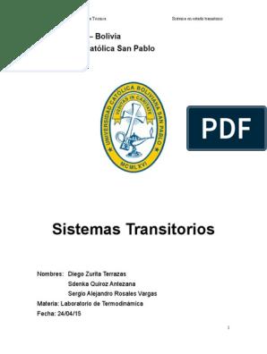 Laboratorio 5 Sistemas Transitorios Exergía Ingeniería