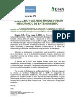 Colombia y Estados Unidos Firman Memorando de Entendimiento