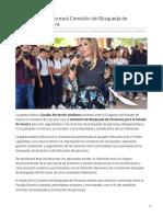 18-05-2018 Claudia Pavlovich creará Comisión de Búsqueda de Personas en Sonora-Tribuna