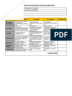 Rúbrica Para Evaluar Resolución de Ejercicios