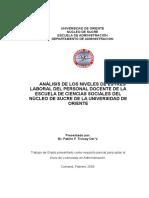 Tesis Analisis de Los Niveles de Estres Laboral Del Personal Docente de La Escuela de Ciencias So