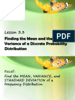 Mean, Variance, and Standard Deviation of a Discreet Probability Distribution