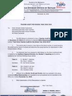 SDO Bataan Division-memorandum No. 390 s.2018