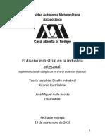 El Diseño Industrial en La Industria Artesanal.