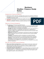 Business Studies- Finance Study Notes