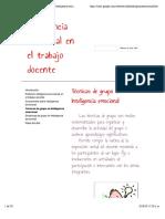TEMA Inteligencia Emocional Técnicas de grupo en Inteligencia emocional - Inteligencia emocional en el trabajo docente