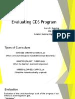 Evaluating CDS Program Report Curriculum