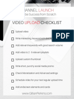 Video Upload Checklist CHANNEL LAUNCH Workbook