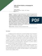 A Construção civil em Goiás e o emprego de