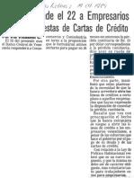 BCV Responde El 22 a Empresarios Sobre Propuestas de Cartas de Credito - Ultimas Noticias 14.09.1989