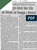 Edgard Romero Nava - Consecomercio Advierte Sobre Ediles Que Defienden Con Demagogia a Buhoneros - El Mundo 20.10.1989