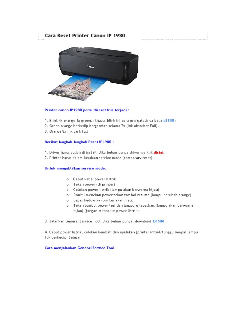 Cara Reset Printer Canon Ip 1980
