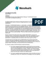 MetroHealth statement 5/23/19
