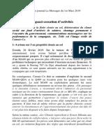 Article CAMAIR-CO Publié Dans Le Journal Le Messager Du 1er Mars 2019