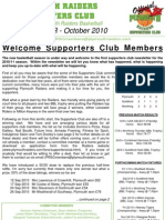 Plymouth Raiders Supporters Club Newsletter - October 2010