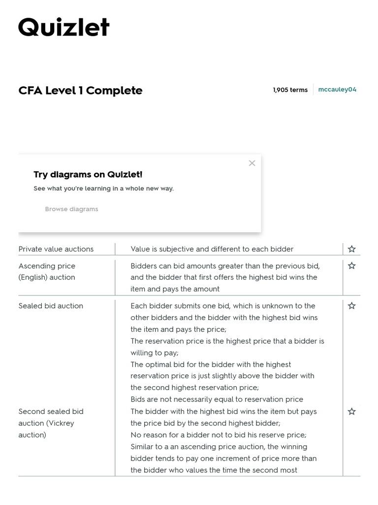 Cfa Level 1 Complete Flashcards Quizlet Pdf Oligopoly Bonds