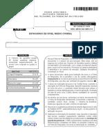 Instituto Aocp 2015 Trt 5 Regiao Ba Estagiario de Nivel Medio Tarde Prova
