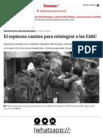 Reintegración de Las FARC Después de La Firma Del Acuerdo de Paz