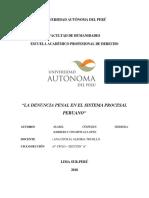 LA DENUNCIA PENAL en El Sistema Procesal Peruano