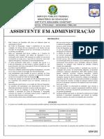 Instituto Aocp 2013 Ibc Assistente de Administracao Prova