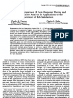 An Empirical Comparison of Item Response Theory and Hierarchical Factor Analysis in Applications Tot He Measurement of Job Satisfaction