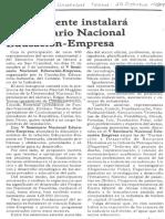 El Presidente Instalara v Seminario Nacional Educacion - Empresa - Diario El Mundo 29.10.1989
