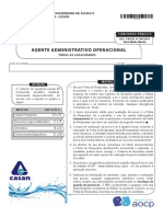 Instituto Aocp 2016 Casan Agente Administrativo Operacional Prova
