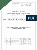 S-000-5520-130 - ITP for Internal Lining of Vesels, Storage Tanks (Shop & Field Application) - Rev. 0