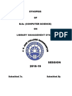 SYNOPSIS for Library Management System