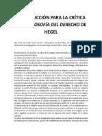 Introducción Para La Crítica de La Filosofía Del Derecho de Hegel