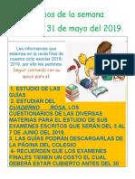 Avisos de La Semana Del 27 Al 31 de Mayo.